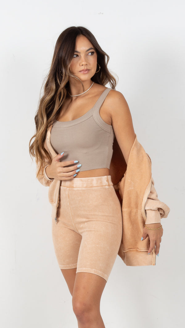 Bailey Rib Knit Biker Shorts - Tan