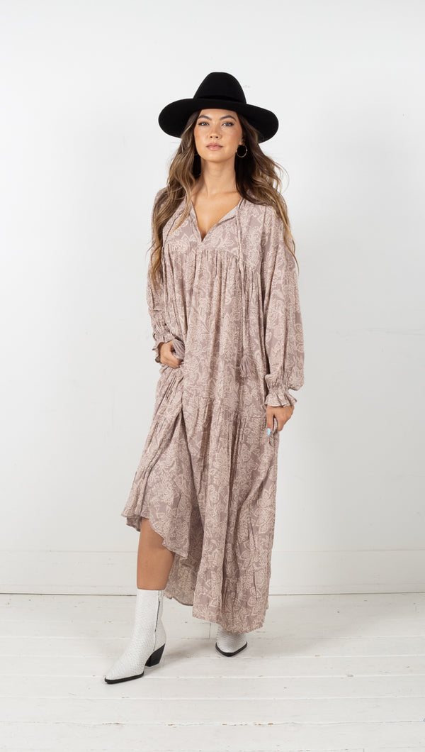 Tessa Paisley Maxi Dress - Light Pewter