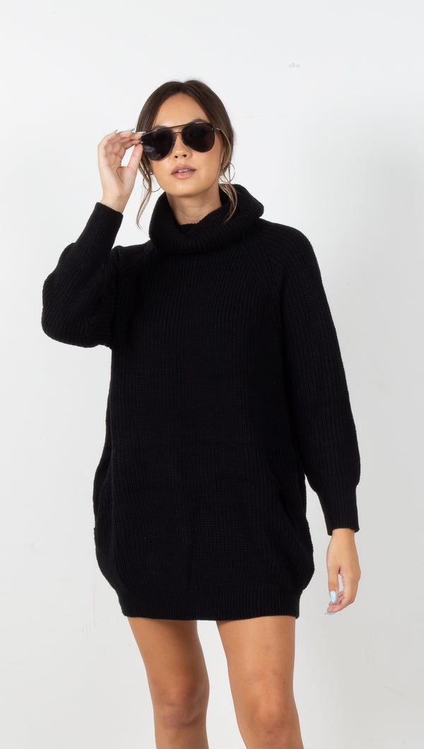 Kristin Turtleneck Sweater Dress - Black