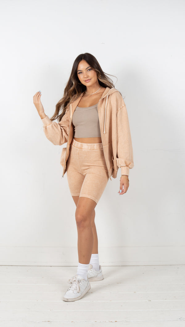 Bailey Oversized Zip Up Hoodie - Tan
