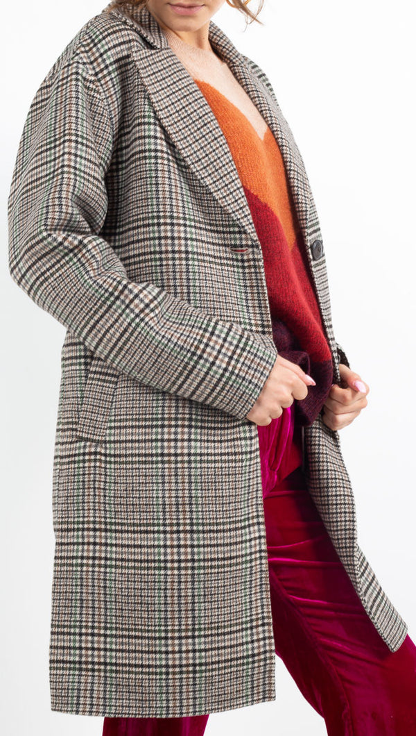 MKT green/brown/white plaid coat