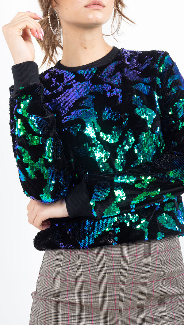 MKT green/blue sequined fleece sweatshirt