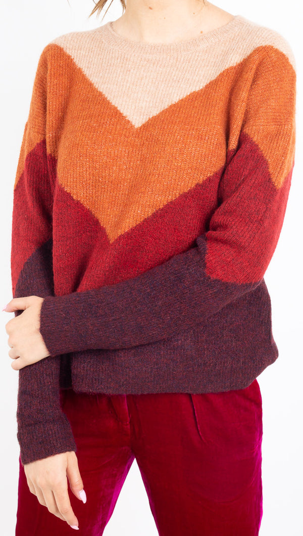 MKT multicolor vshaped color blocked knit sweater