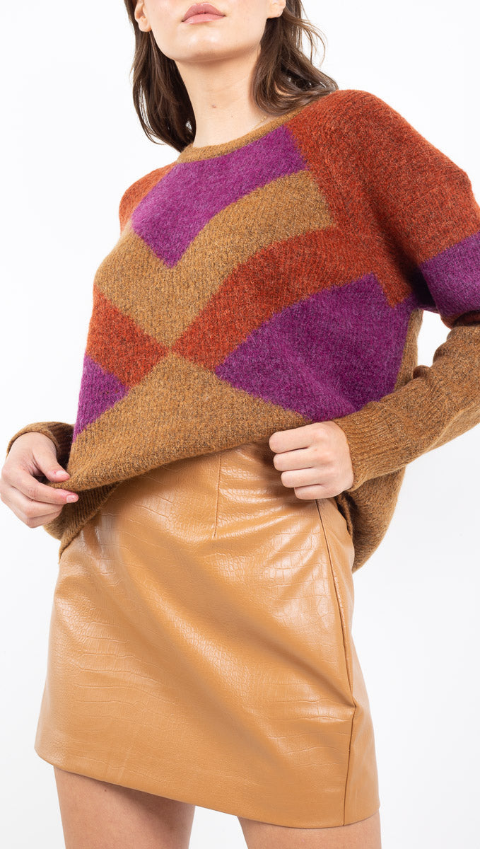 MKT brown/purple/red multicolor pattern knit