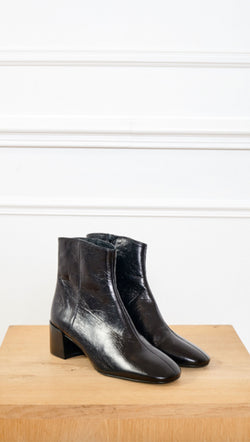 MKT black leather booties with side zipper