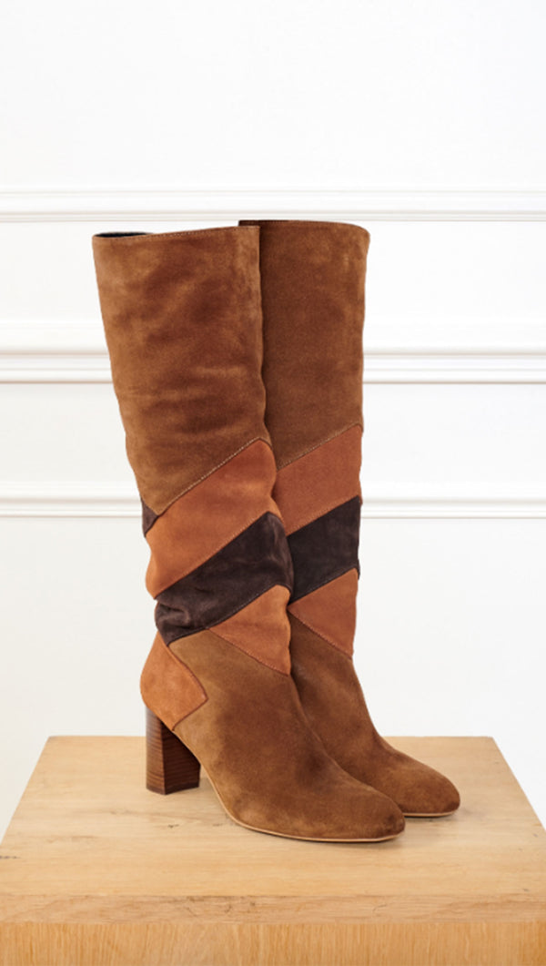 MKT brown blocked calf length boot
