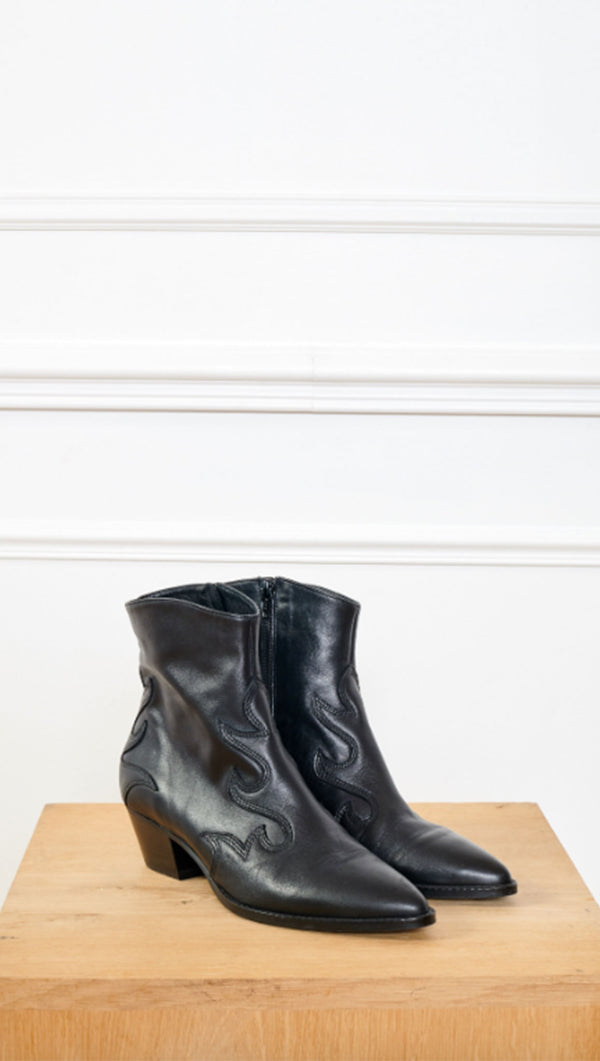 MKT black western leather booties