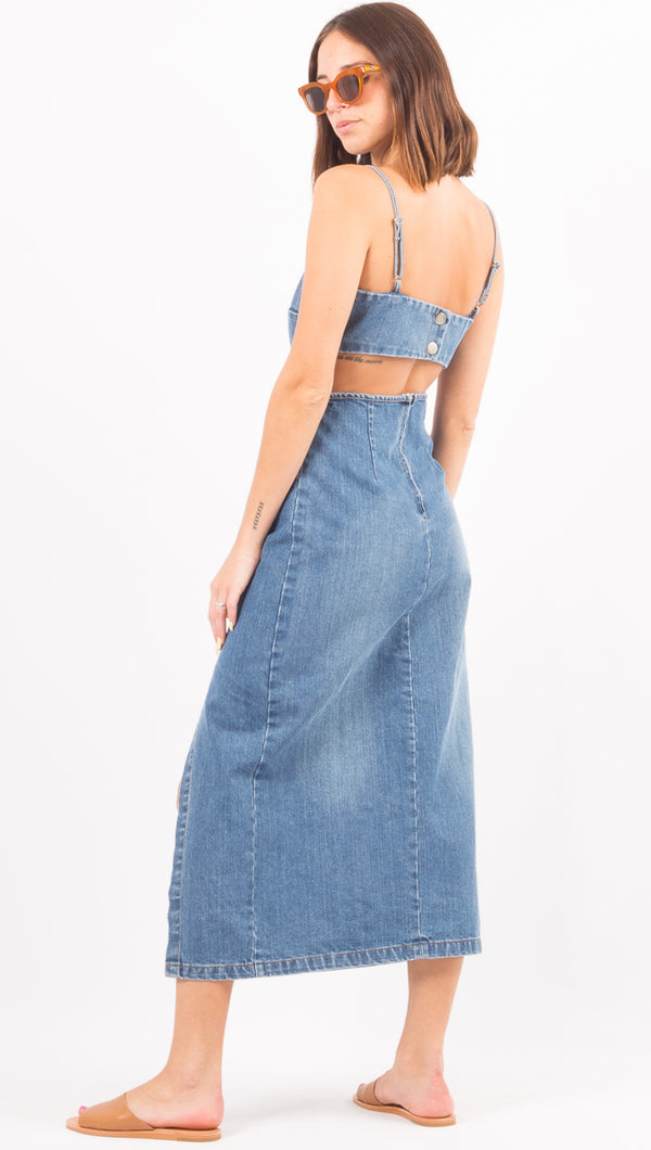 Paris Midi Dress - Royal Wash Denim