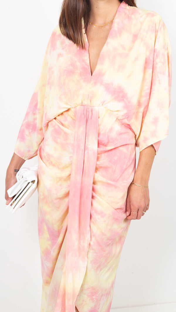 étoile Pink and Yellow Tie Dye Draped Midi Dress