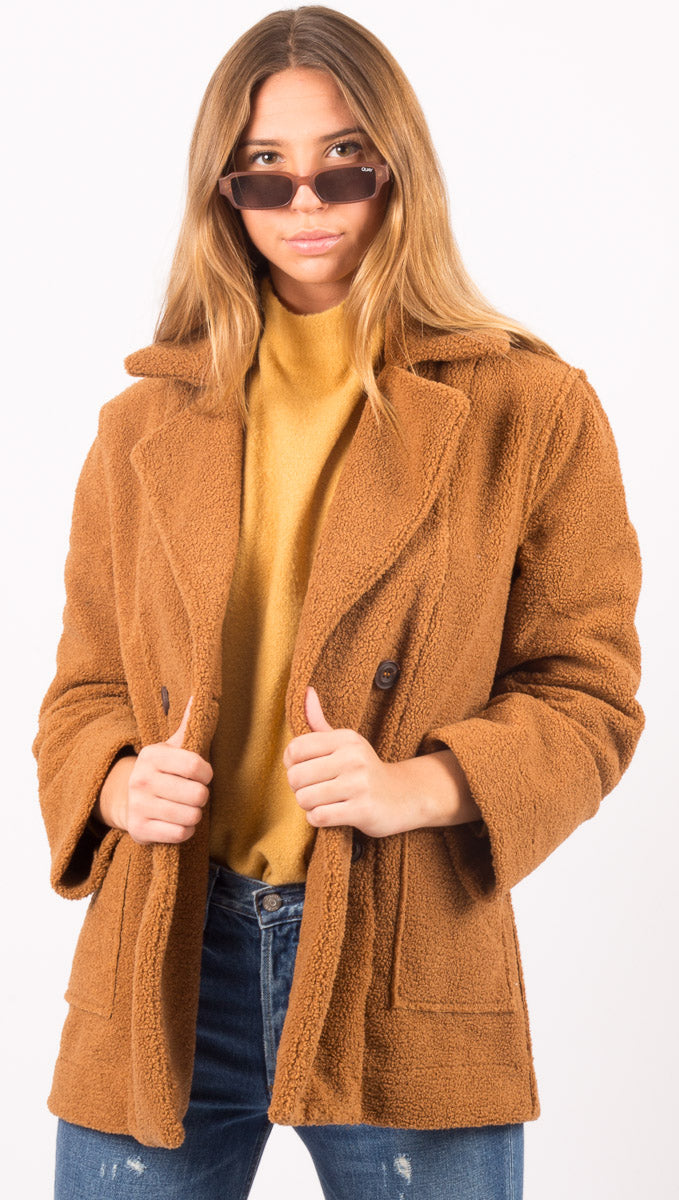 Reversible Notched Collar Fleece Coat - Caramel