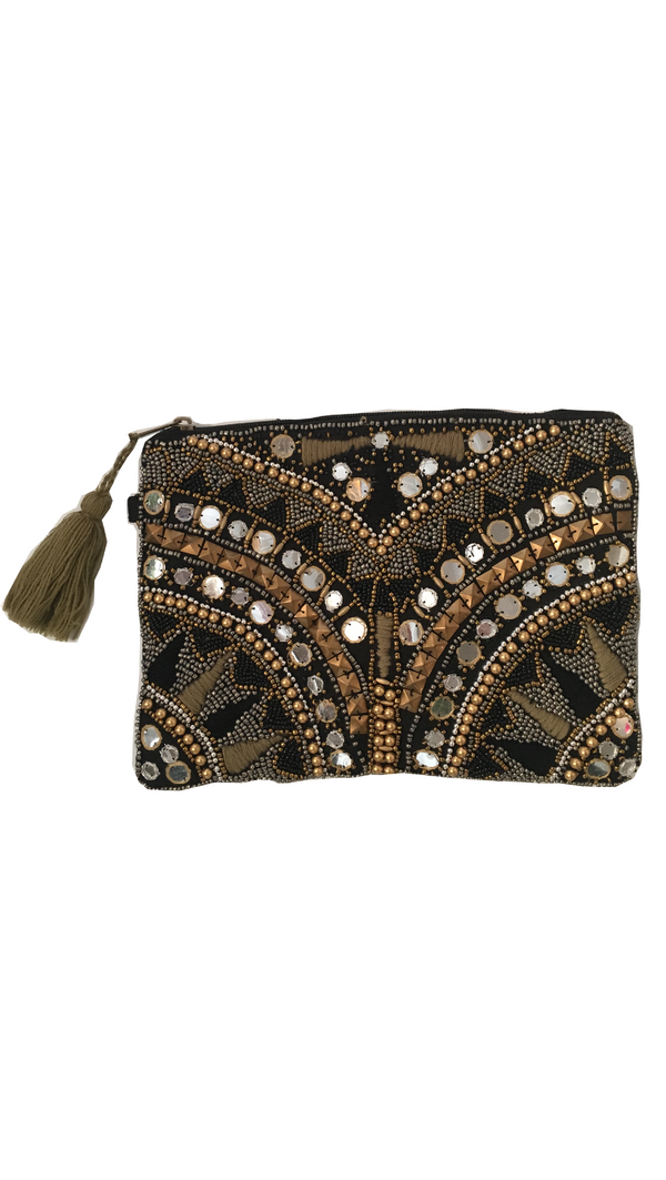 Van De Vort black/gold embellished clutch pouch