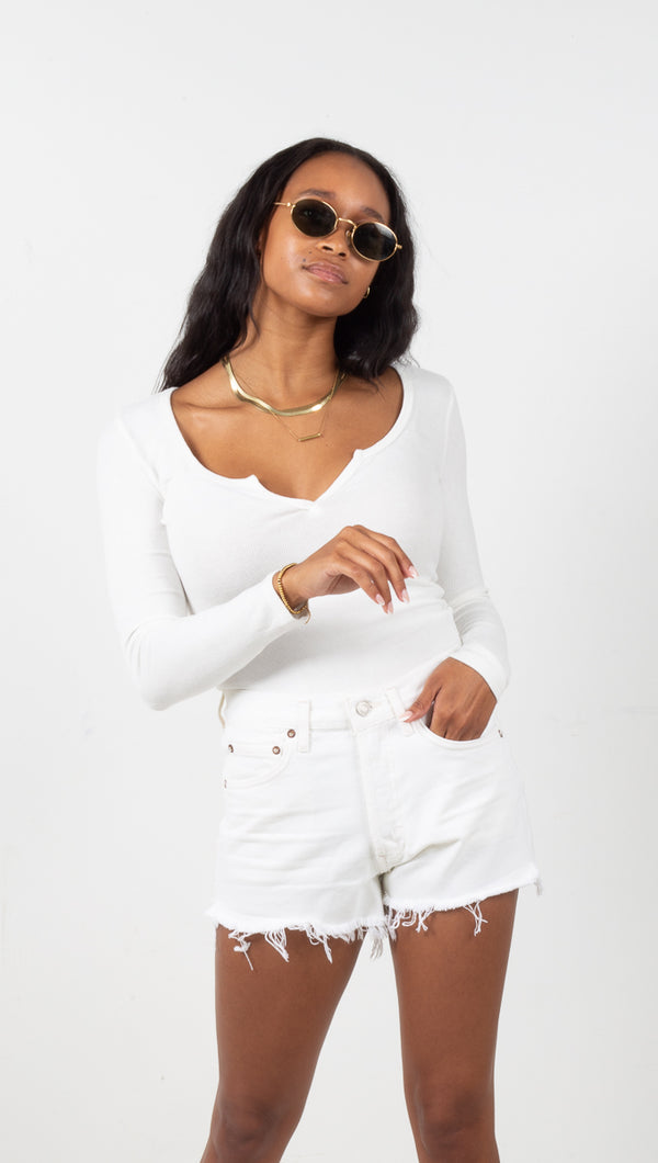 Vaughn Long Sleeve Top - White