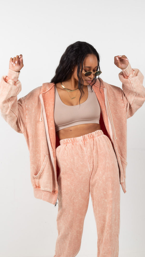 Bailey Oversized Zip Up Hoodie - Peach