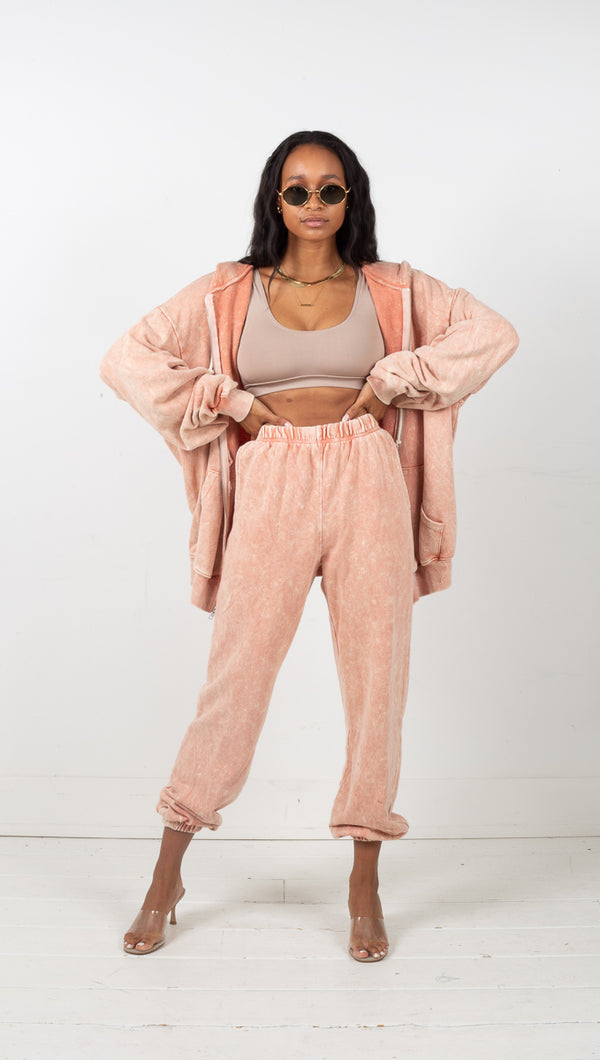 Bailey Terry Jogger Pants - Peach