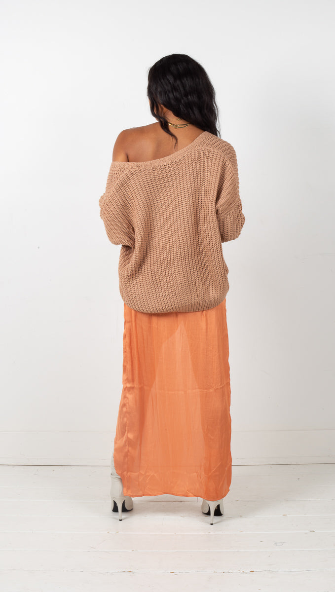 Maia Chunky Knit Pocket Cardigan - Tan