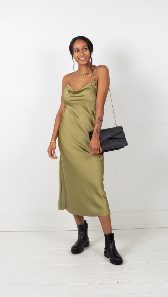 Ellie Satin Midi Dress - Olive