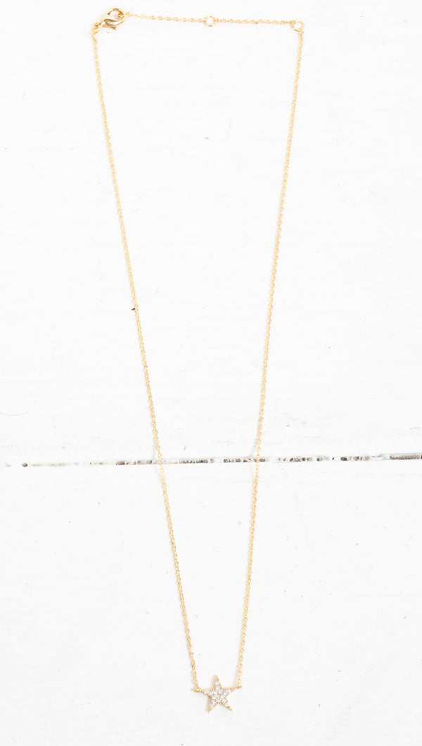 Crystal Star Necklace - Gold