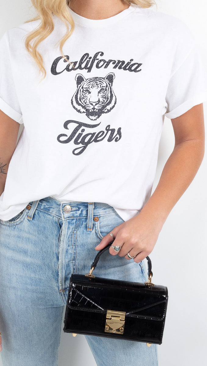 "NEEMA California white slight crop tee with ""California Tigers"" graphic"