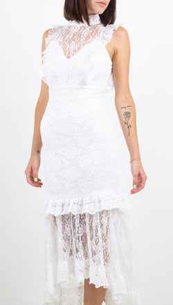 Nightcap white lace high neck maxi dress