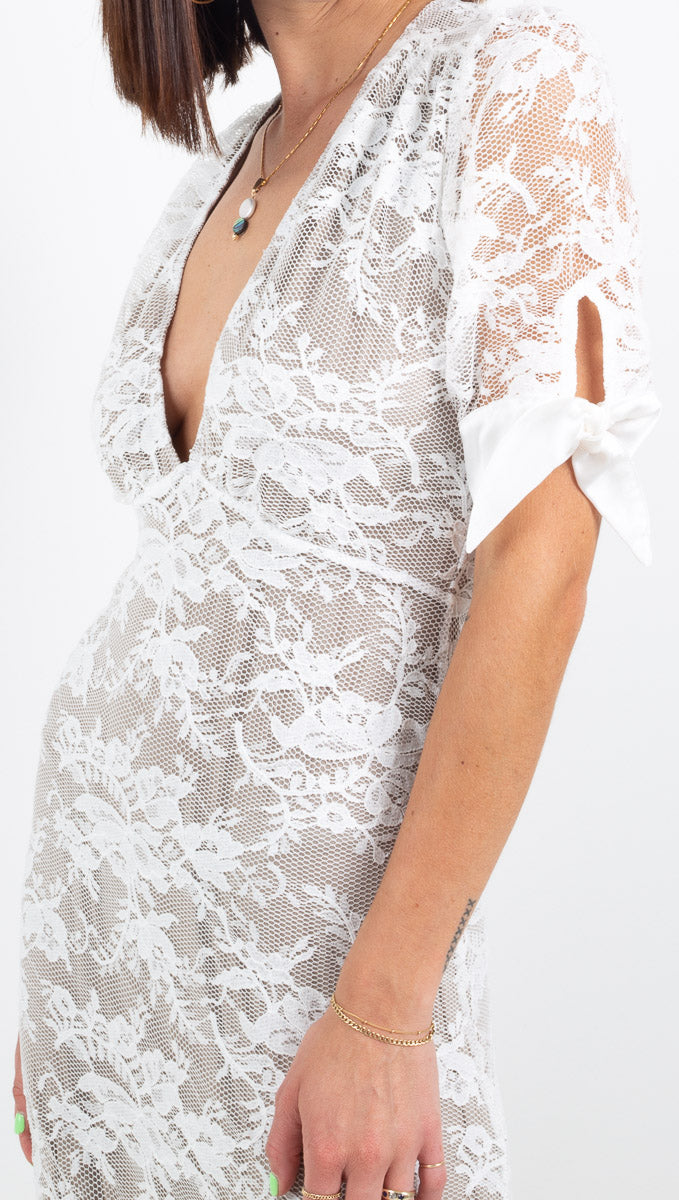 Nightcap white lace short sleeve deep vneck maxi dress