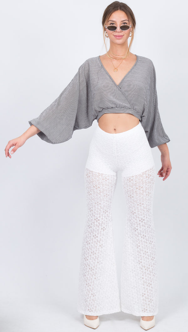 Nightcap White Lace High Waist Flare Pant