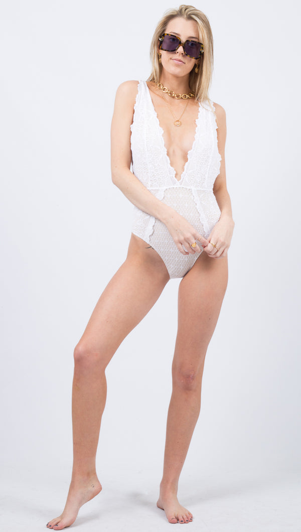 Net Mesh Plunge One Piece - Dove