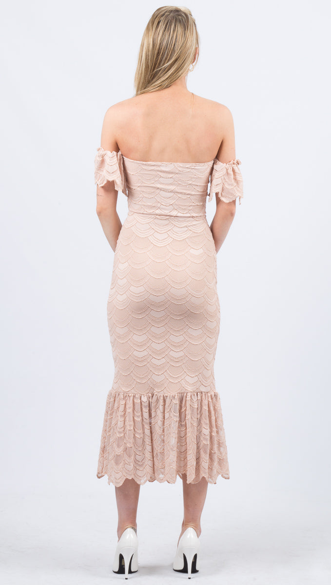 Victorian Flutter Gown - Nude