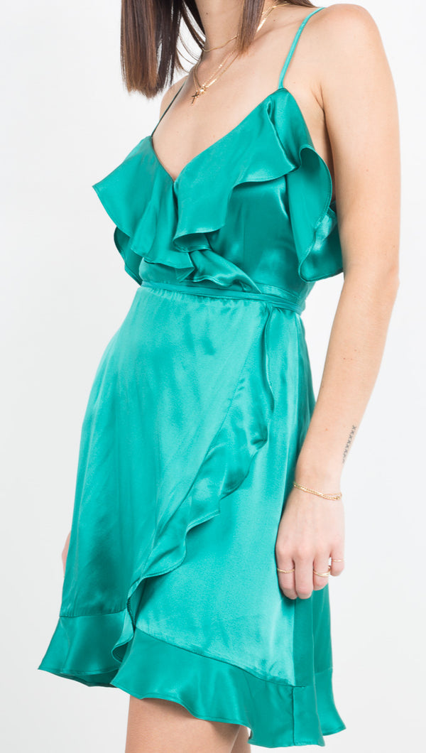 Nightcap Silk Wrap Mini Dress in Emerald with Ruffles