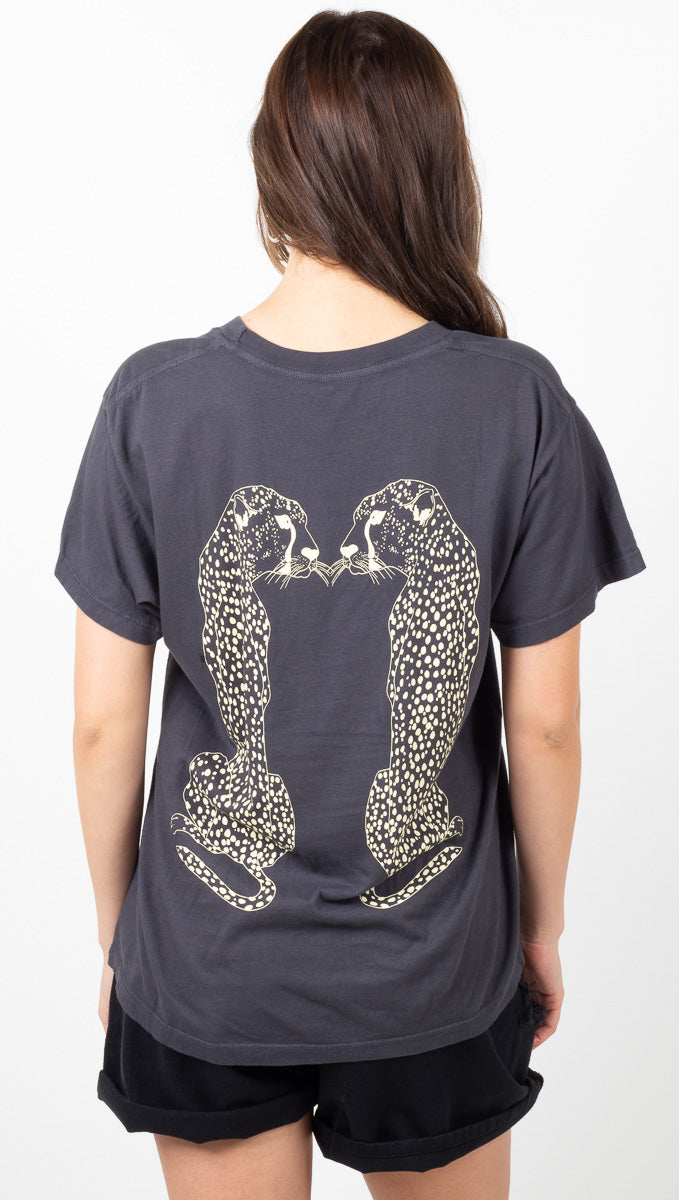 The Mick Tee - Washed Black Cheetah