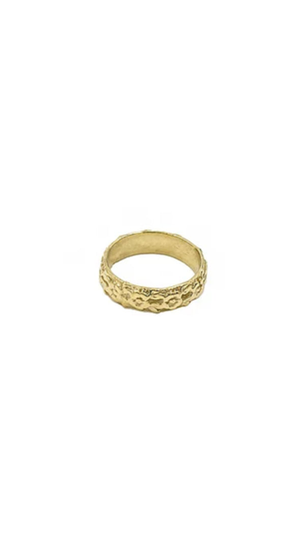 Paradigm Design gold floral design thick band ring