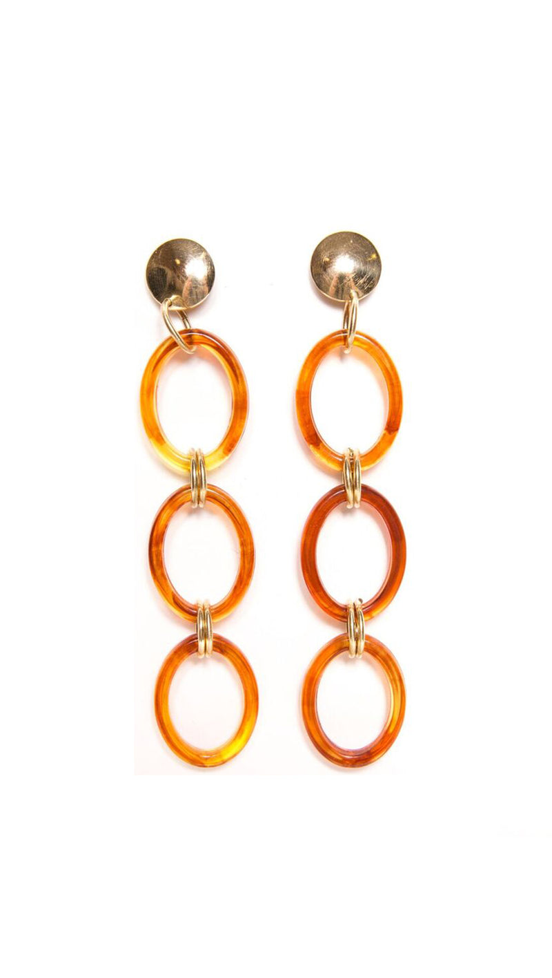 Paradigm Design Amber Acrylic Triple Hoop Dangling Earrings