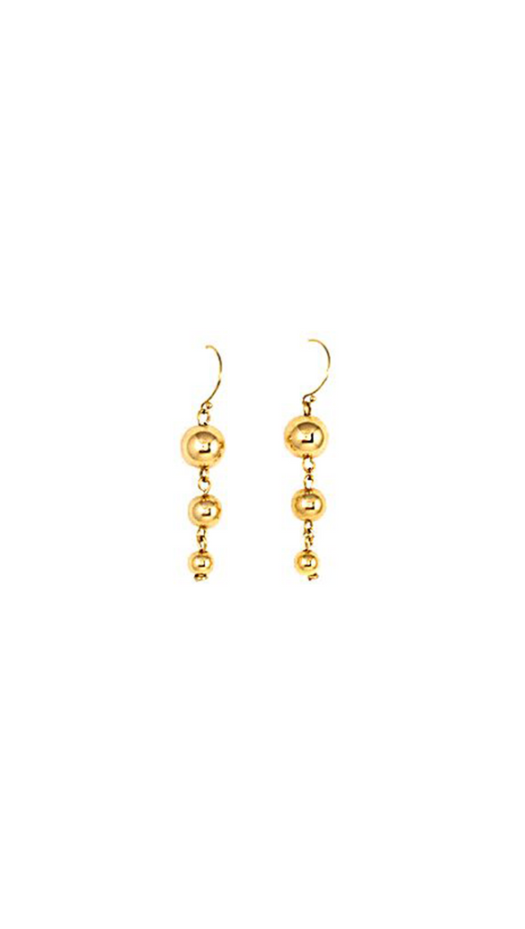 Gold Triple Ball Dangling Earrings