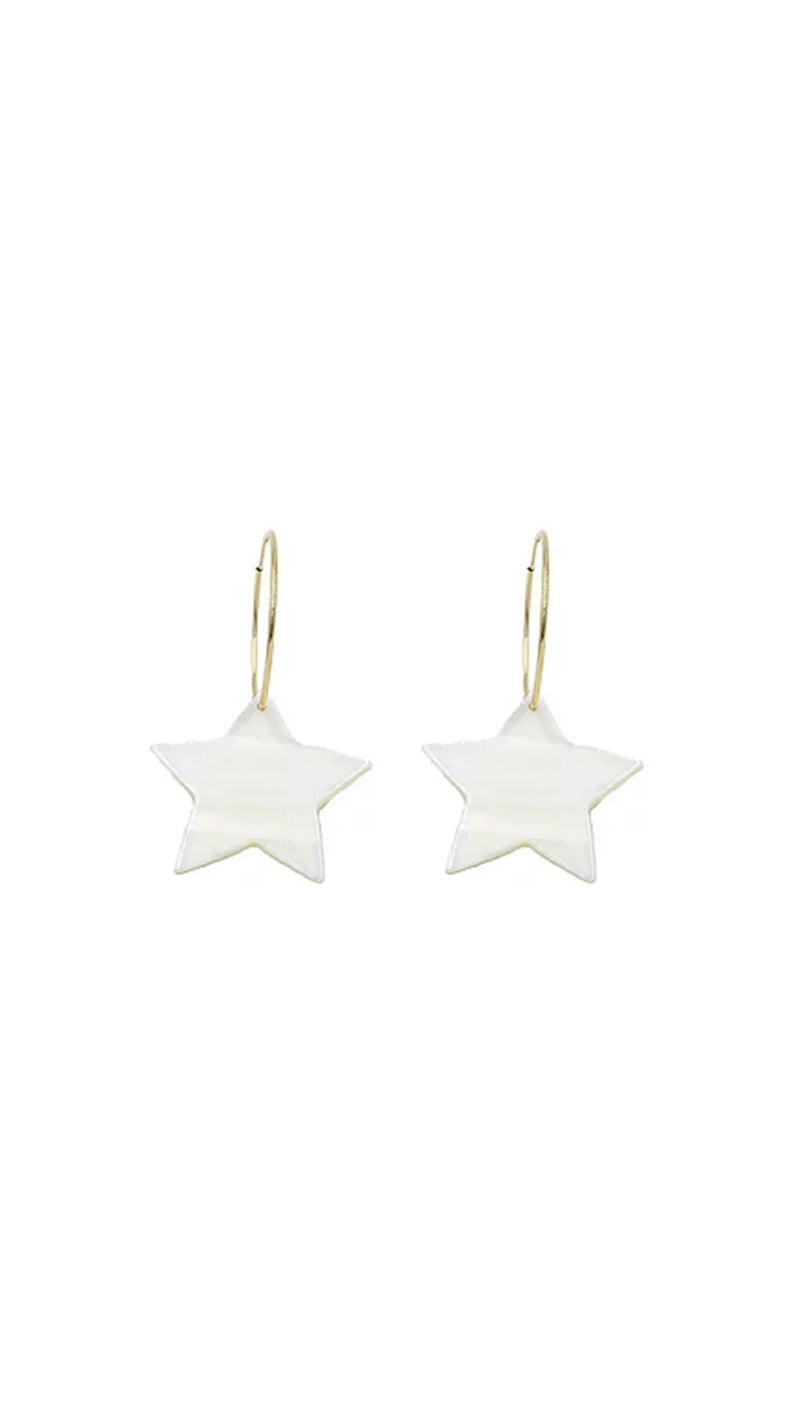 Paradigm Design Gold Fill Hoops with Pearl Star Charms