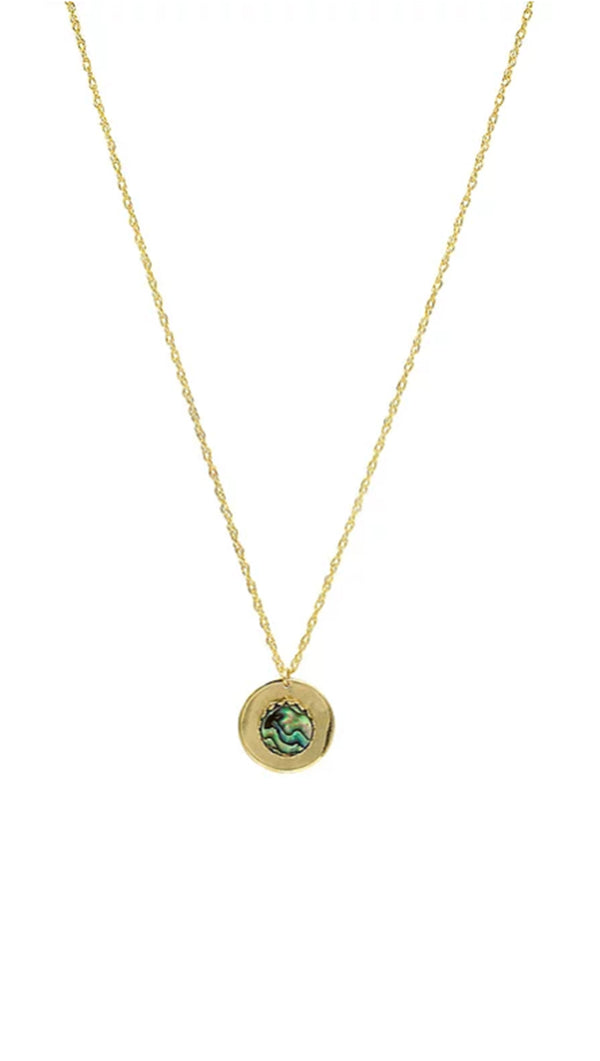 Paradigm Design gold necklace with abalone charm on gold coin