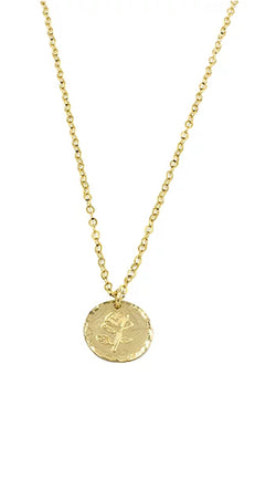 Paradigm thin gold chain with rose stamped coin charm