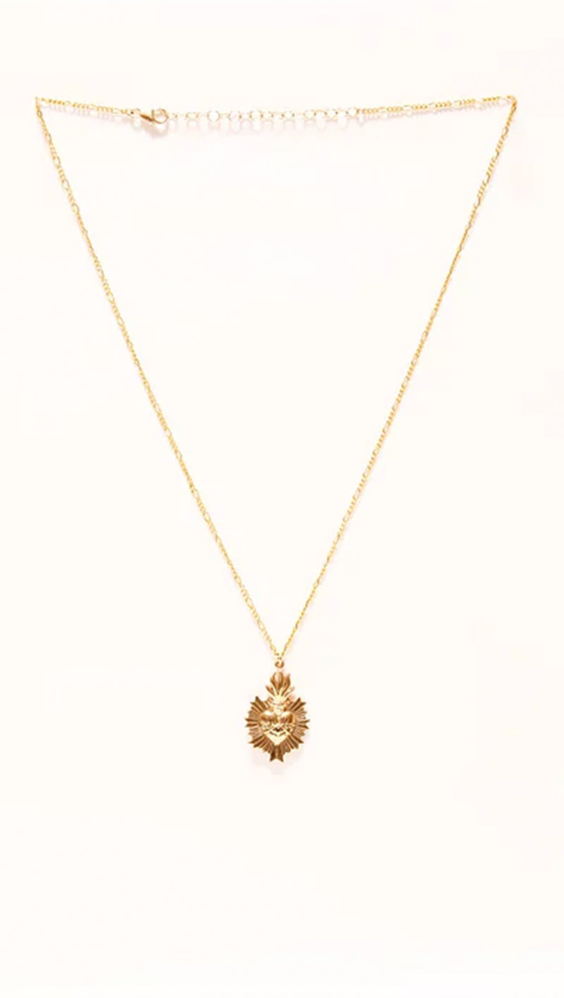 Sacred Heart Necklace - Gold Plated W/ Gold Filled Chain