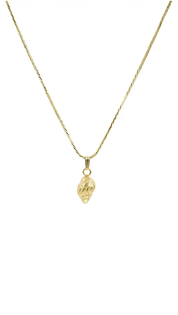 Paradigm Design gold necklace with small gold shell