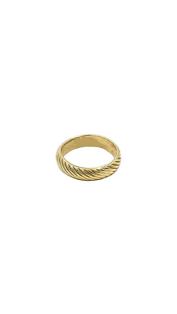 Paradigm Design gold diagonal stripe ring