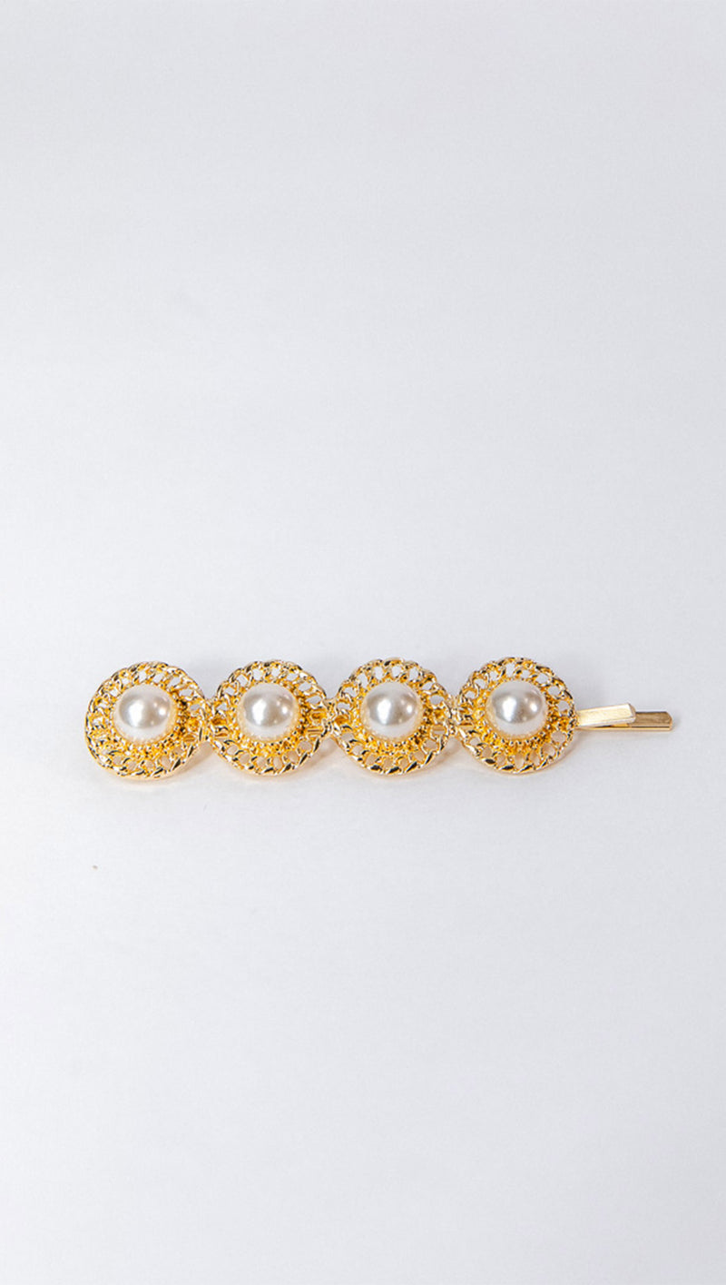 Petit Moments Gold Pearl Barrette