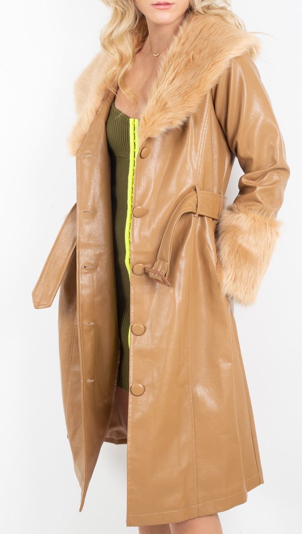 Petit Moments tan vegan leather trench coat with fur cuffs and collar