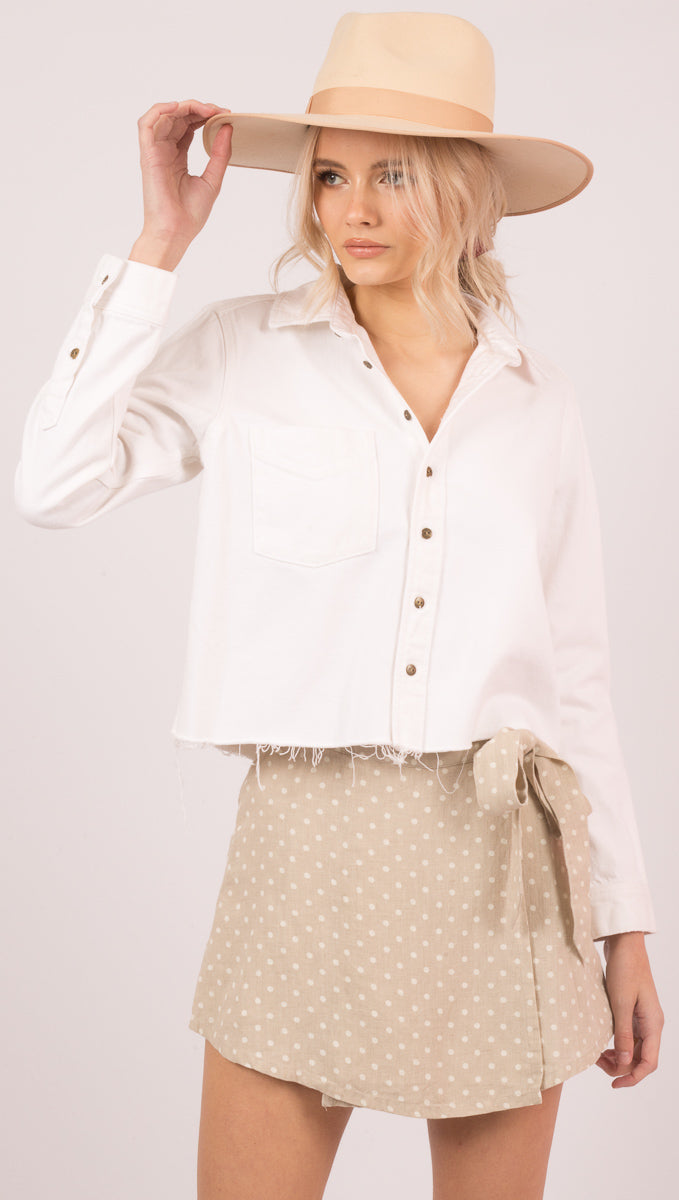 Pistola White Denim Button Down Cropped Shirt