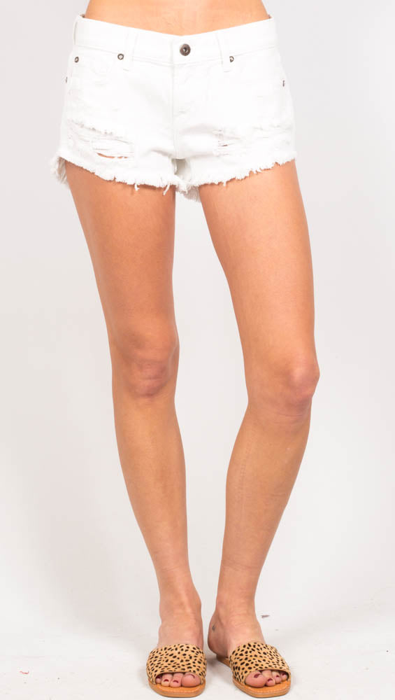 White Denim Cut Off Shorts