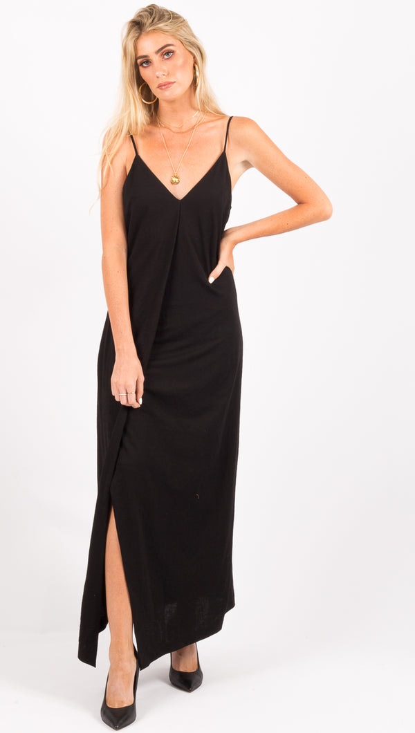 Line and Dot Black Maxi Dress