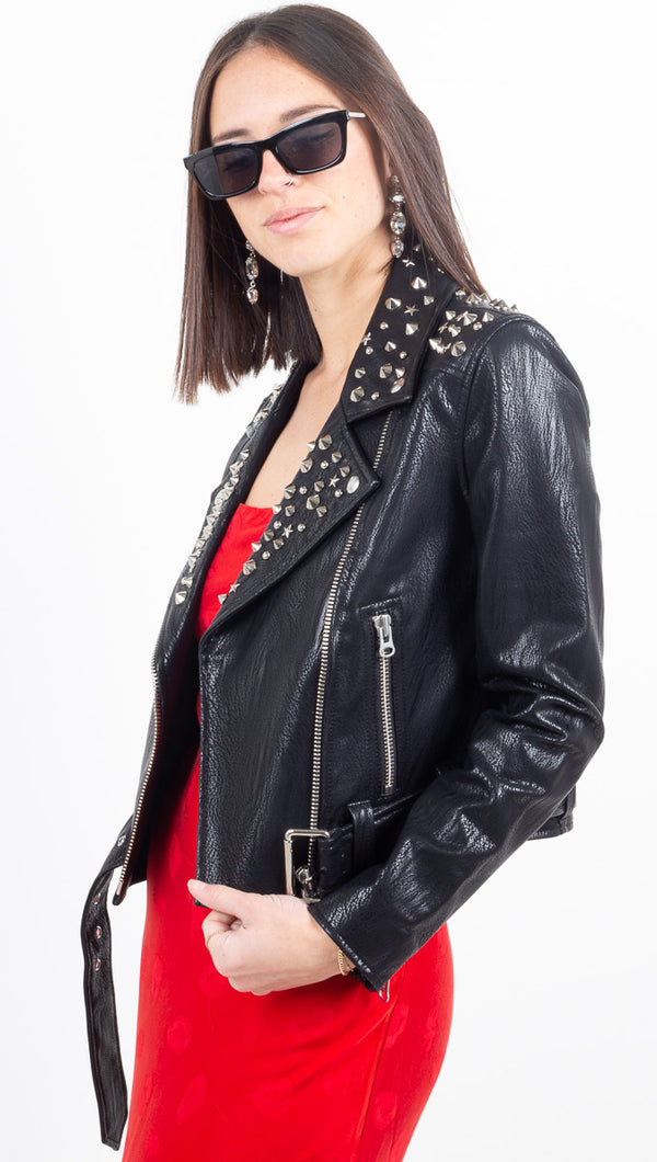 Tracy Cropped Moto Jacket w/ Multi Studs - Onyx Diamond