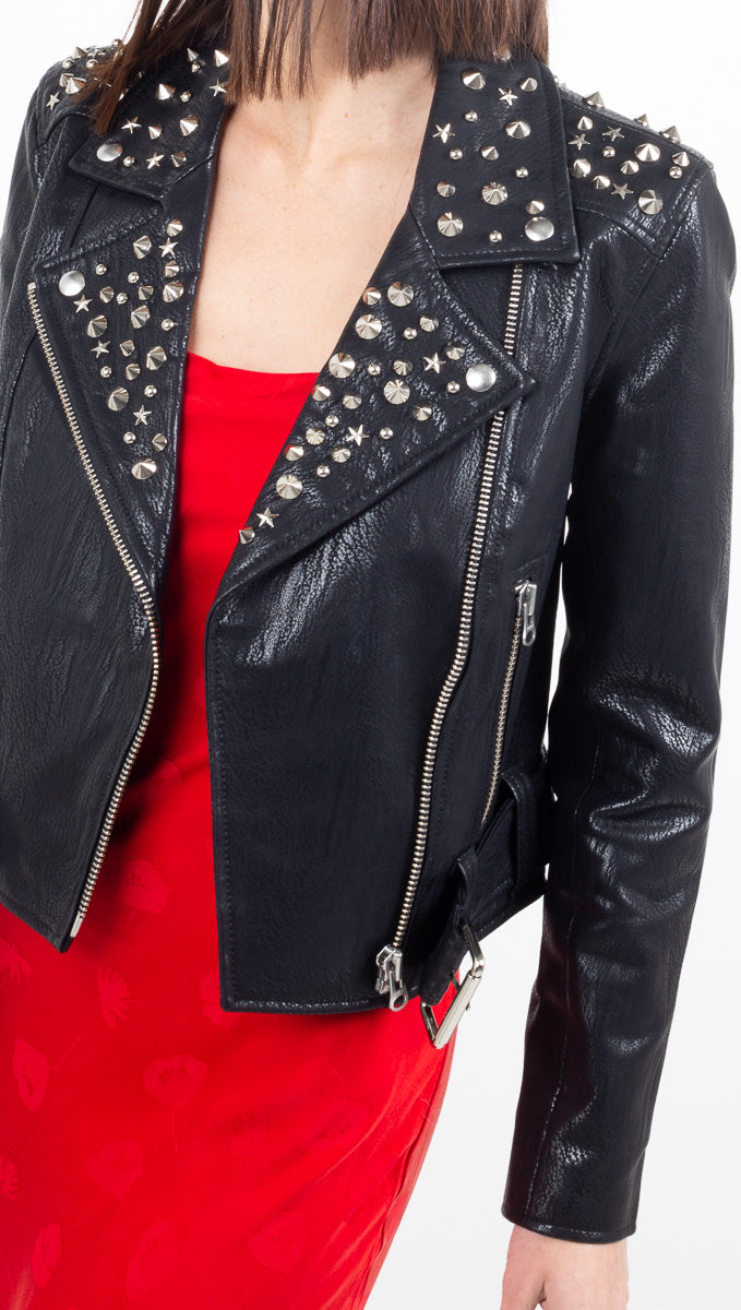Pistola black vegan leather moto jacket with silver hardware detail