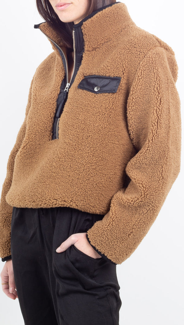 Pistola brown sherpa fuzzy pullover with black lining and half zip