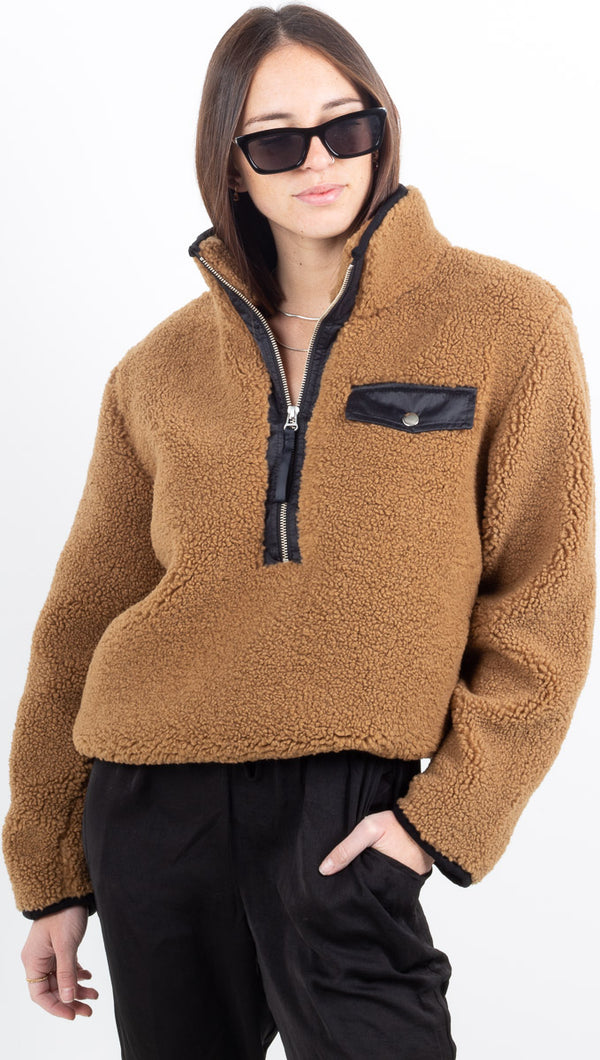 Zoey Fuzzy Pullover w/ Contrast Detail - Camel