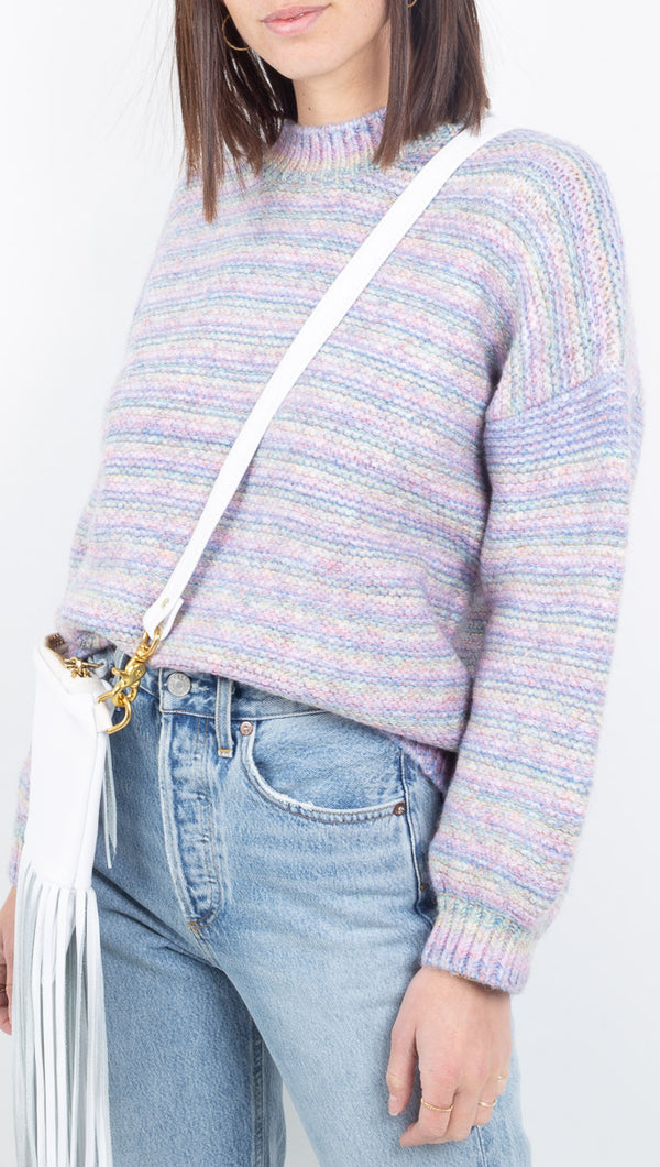 Vagabond purple/multi colored pastel striped sweater