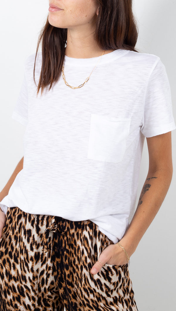 Vagabond White Short Sleeve Pocket Tee