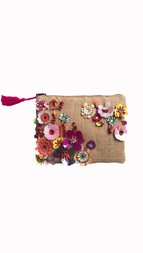 Van De Vort floral/denim clutch